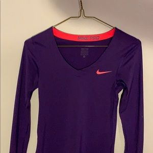 Purple Nike Women's Long Sleeve NIKE PRO Shirt